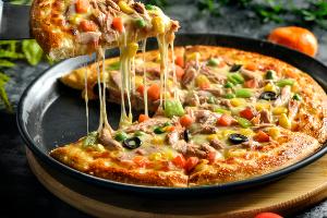 掉金渣中式披萨
